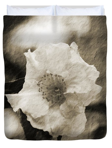 Duvet Cover featuring the photograph Black And White Flower With Texture by Maggy Marsh