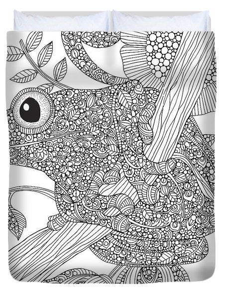 Black And White Frog Duvet Cover