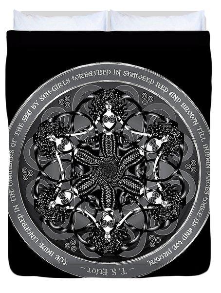 Black And White Gothic Celtic Mermaids Duvet Cover