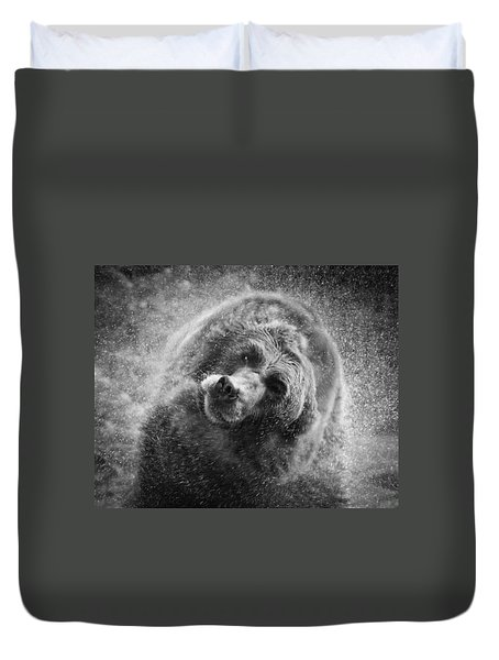 Black And White Grizzly Duvet Cover by Steve McKinzie