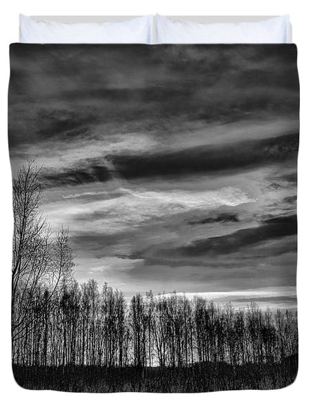 Duvet Cover featuring the photograph Black And White Grongarn Sky December 16 2014 Colouring The Clouds  by Leif Sohlman