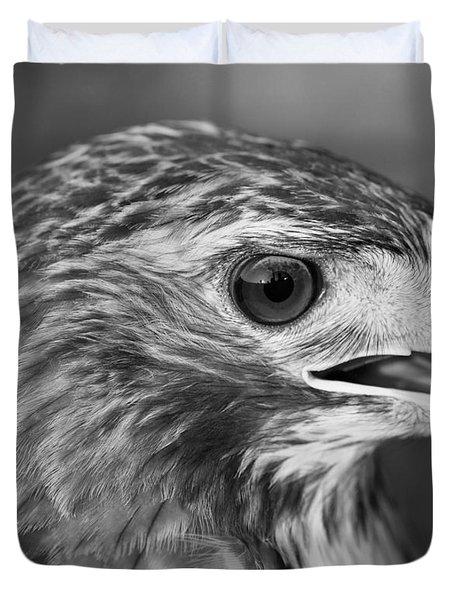 Black And White Hawk Portrait Duvet Cover