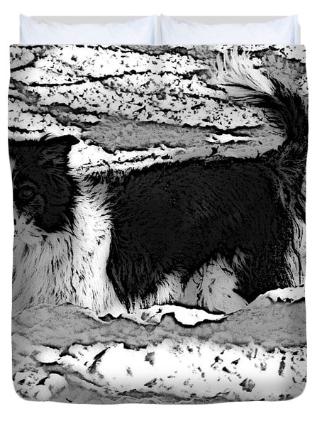 Duvet Cover featuring the photograph Black And White In Snow by Michael Porchik