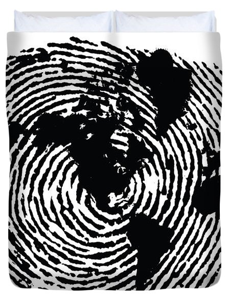 black and white ink print poster One of a Kind Global Fingerprint Duvet Cover