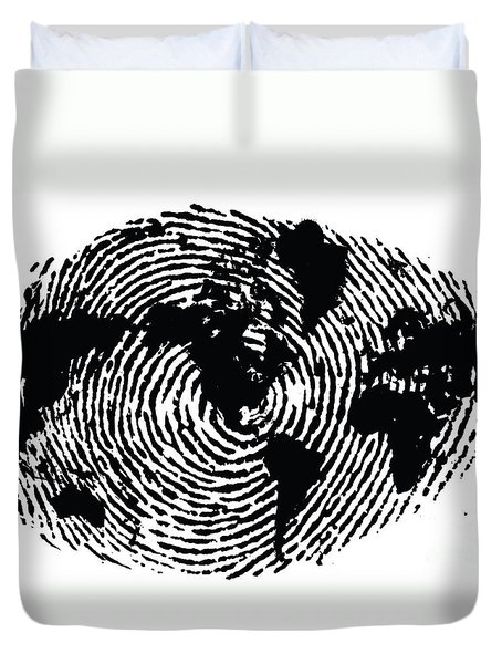 black and white ink print poster One of a Kind Global Fingerprint Duvet Cover by Sassan Filsoof