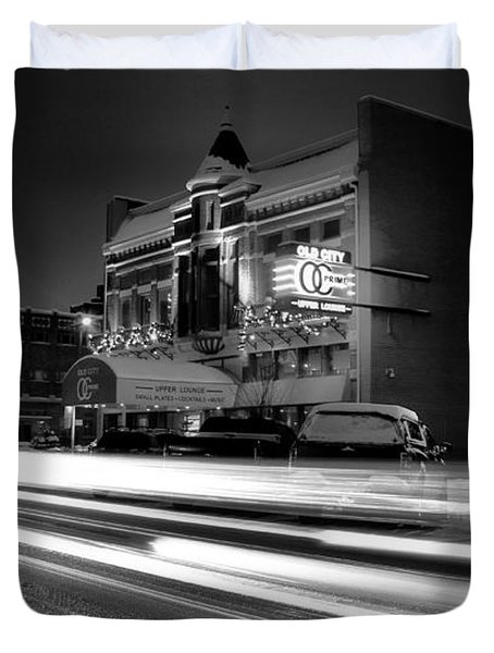 Black And White Light Painting Old City Prime Duvet Cover by Dan Sproul