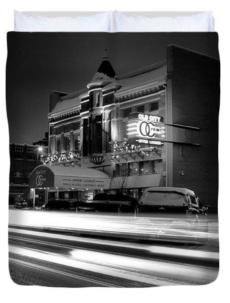 Black And White Light Painting Old City Prime Duvet Cover