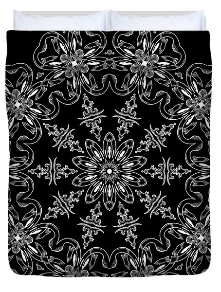 Black And White Medallion 11 Duvet Cover by Angelina Vick