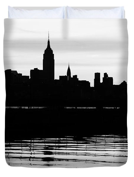 Duvet Cover featuring the photograph Black And White Nyc Morning Reflections by Lilliana Mendez