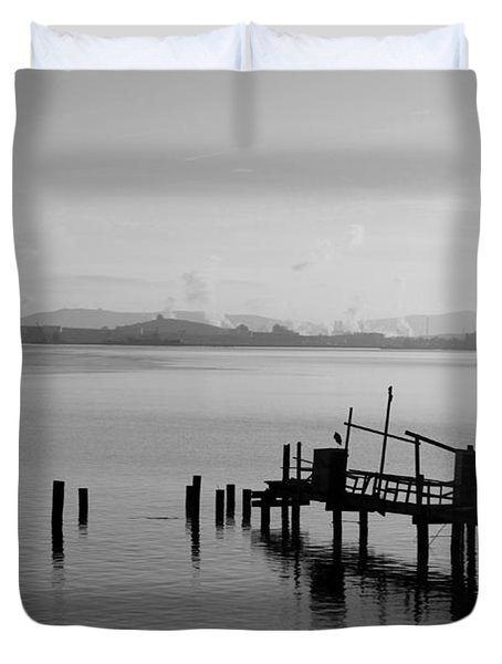 Black And White Oakland Bay Duvet Cover