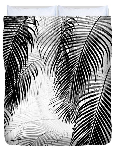 Black And White Palm Fronds Duvet Cover by Karon Melillo DeVega