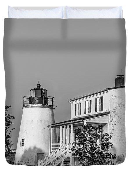Black And White Piney Point Lighthouse Duvet Cover