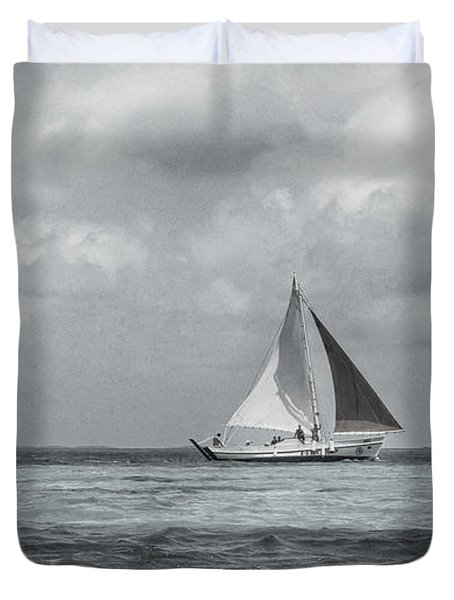 Black And White Sail Boat Duvet Cover by Kristina Deane