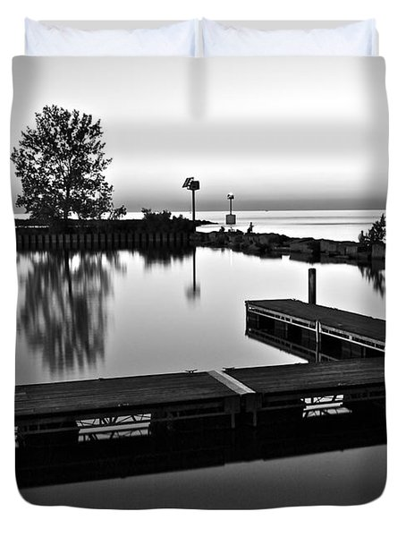 Black And White Sunset Duvet Cover by Frozen in Time Fine Art Photography