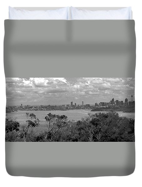 Duvet Cover featuring the photograph Black And White Sydney by Miroslava Jurcik