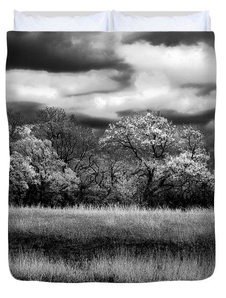 Black And White Trees Duvet Cover