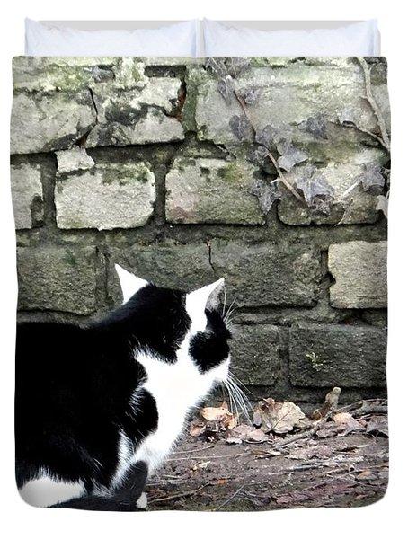 Black And White Waiting Cat Duvet Cover