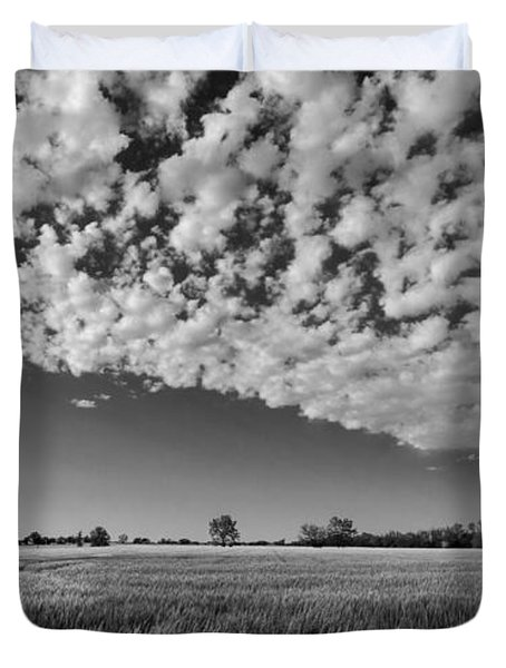 Black And White Wheat Field Duvet Cover