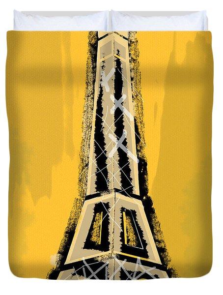Black And Yellow Eiffel Tower Paris Duvet Cover