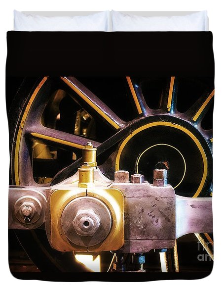 Duvet Cover featuring the photograph Black And Yellow Loco Wheel by Joseph J Stevens