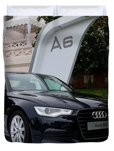 Black Audi A6 Classic Saloon Car Duvet Cover
