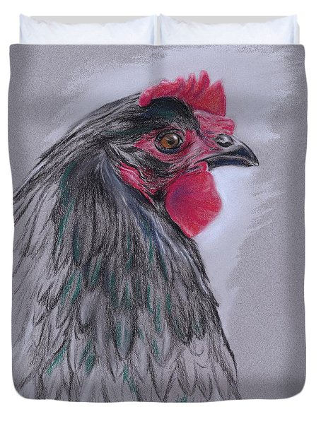 Duvet Cover featuring the pastel Black Australorp Hen by MM Anderson