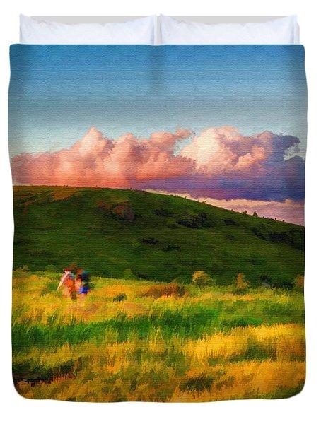 Black Balsam Hikers Duvet Cover by John Haldane