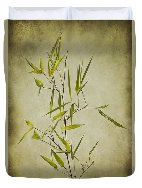Duvet Cover featuring the photograph Black Bamboo Stem. by Clare Bambers