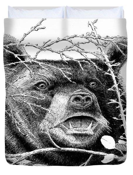 Black Bear Boar Duvet Cover