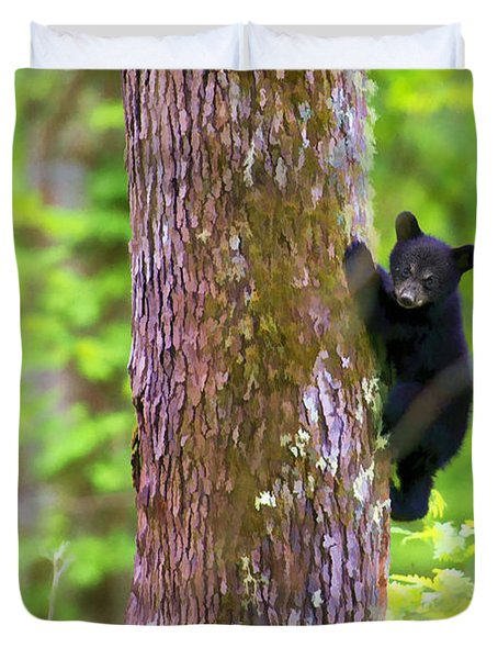 Black Bear Cub In Tree Duvet Cover by Dan Friend