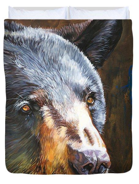 Black Bear The Messenger Duvet Cover