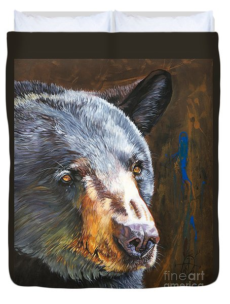 Black Bear The Messenger Duvet Cover