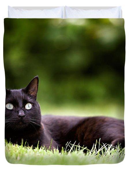 Black Cat Lying In Garden Duvet Cover