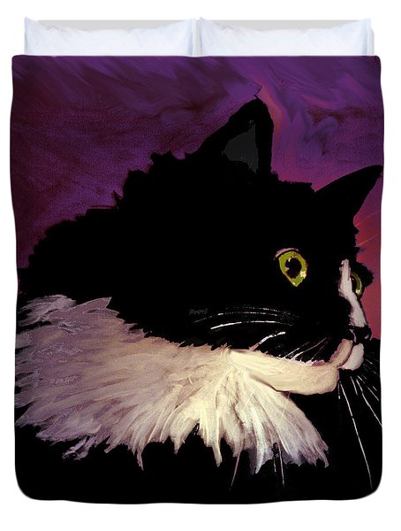 Black Cat On Purple Duvet Cover