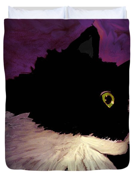Black Cat On Purple Horizontal Duvet Cover