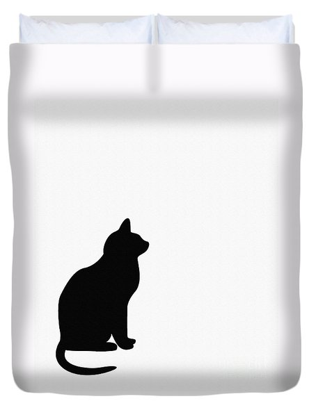 Black Cat Silhouette On A White Background Duvet Cover by Barbara Griffin