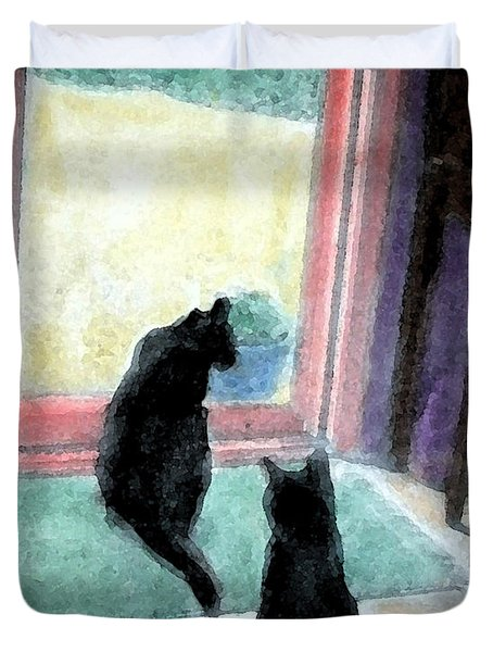 Black Cats Duvet Cover by Art by Kar