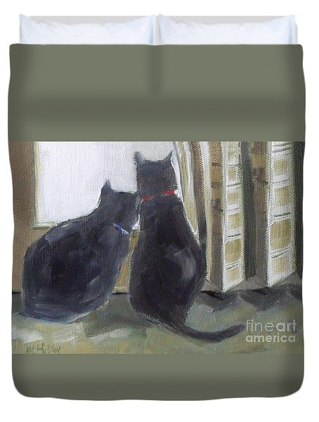 Black Cats  Duvet Cover by Mary Hubley