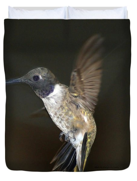 Duvet Cover featuring the photograph Black Chinned Hummingbird by Debby Pueschel