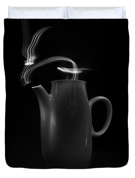 Black Coffee Pot - Light Painting Duvet Cover