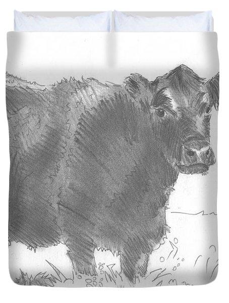 Black Cow Pencil Sketch Duvet Cover