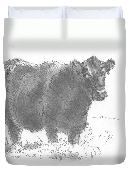 Black Cow Pencil Sketch Duvet Cover