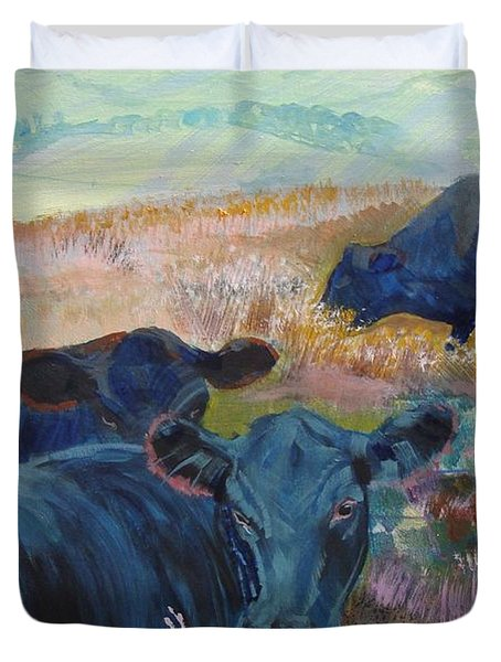 Black Cows On Dartmoor Duvet Cover