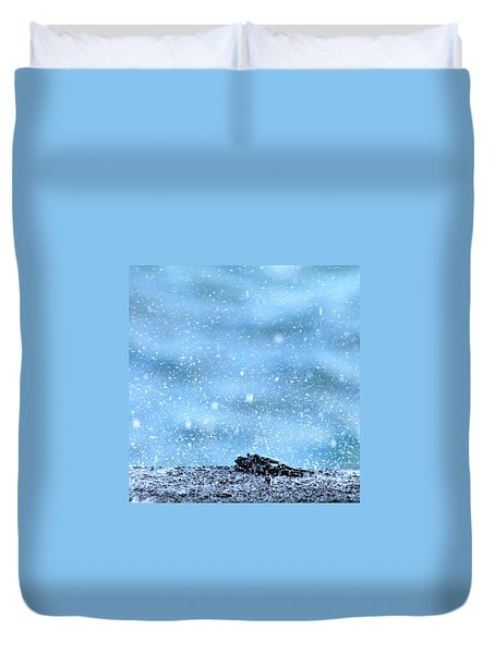 Black Crab In The Blue Ocean Spray Duvet Cover