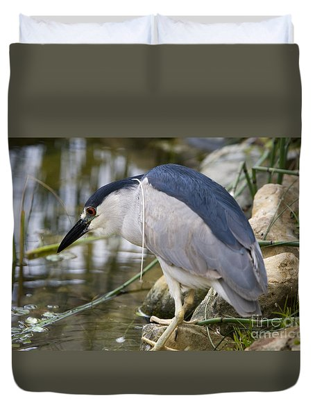 Duvet Cover featuring the photograph Black-crown Heron Going Fishing by David Millenheft