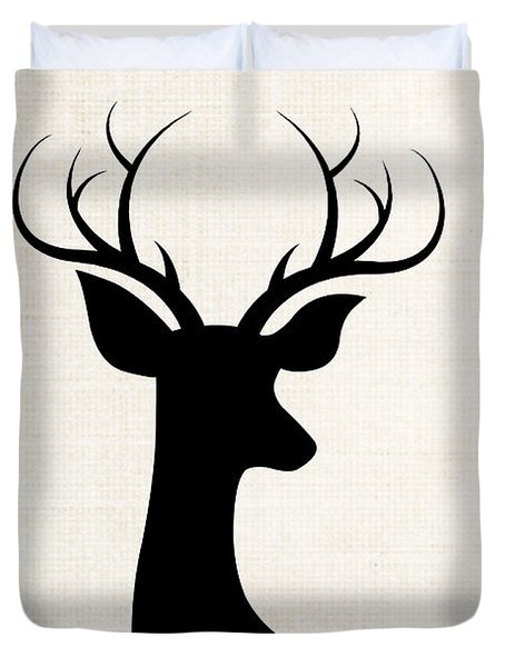 Black Deer Silhouette Duvet Cover by Chastity Hoff