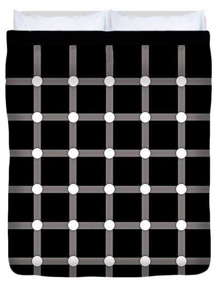 Duvet Cover featuring the digital art Black Dot Illusion by Nick Kloepping