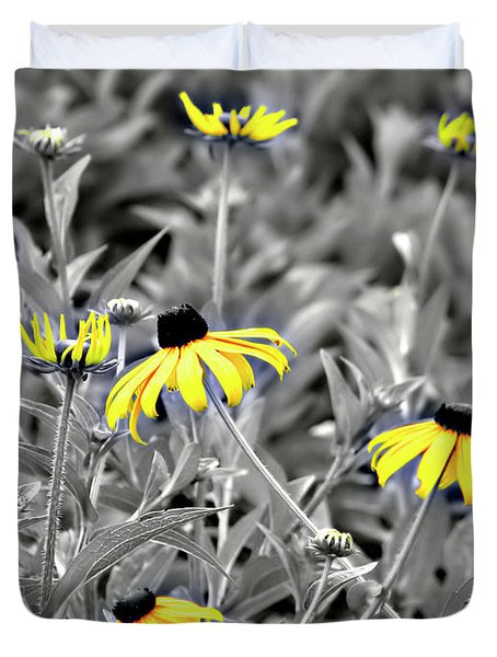 Duvet Cover featuring the photograph Black-eyed Susan Field by Carolyn Marshall