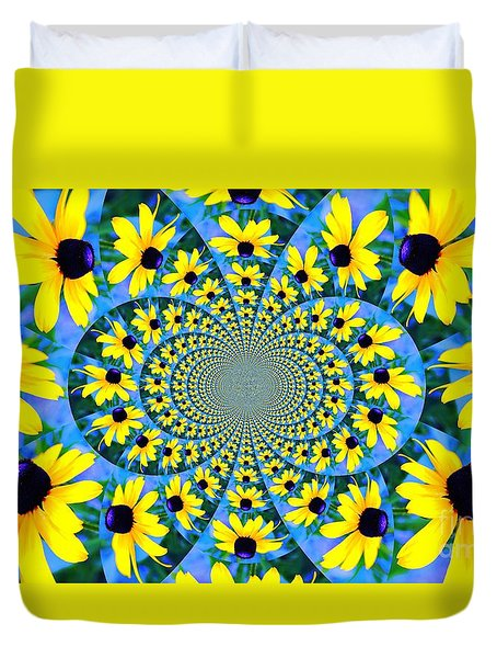 Duvet Cover featuring the photograph Black Eyed Susan Kaleidoscope by Judy Palkimas