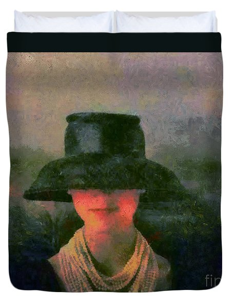 Duvet Cover featuring the painting Black Hat by Elizabeth Coats